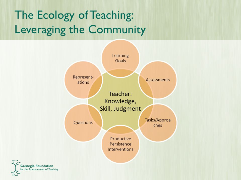The Ecology of Teaching: Leveraging the Community Teacher: Knowledge, Skill, Judgment Learning Goals Assessments Tasks/Approa ches Productive Persistence Interventions Questions Represent- ations