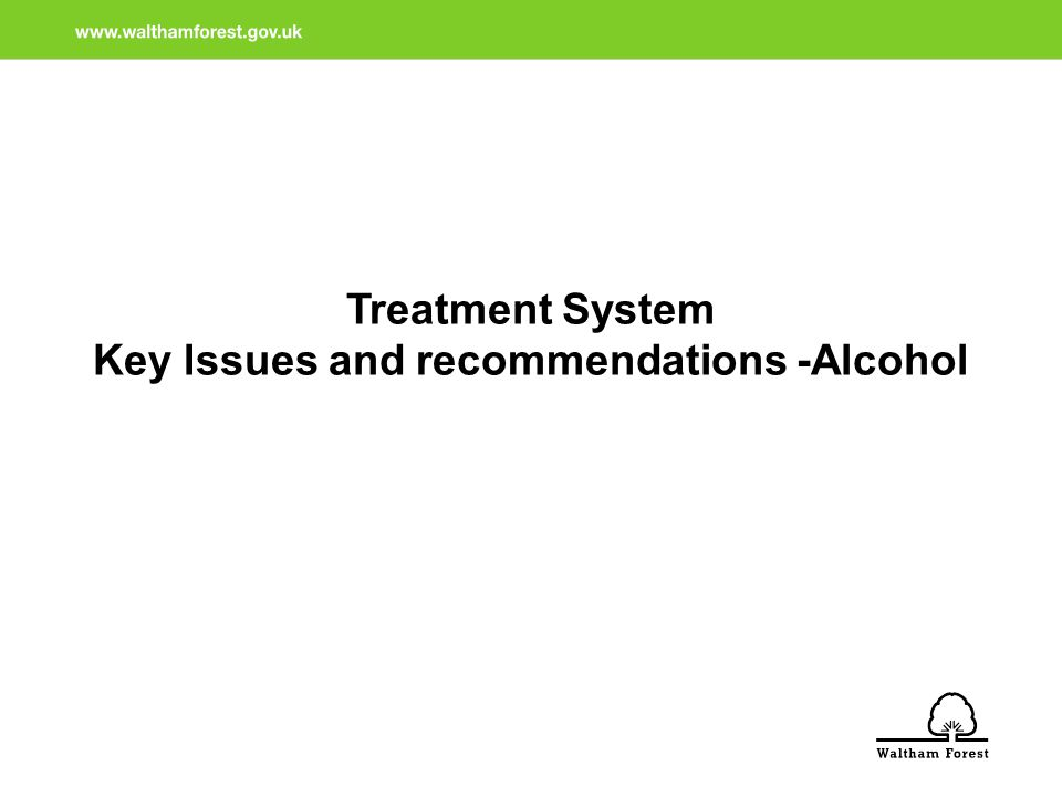 Treatment System Key Issues and recommendations -Alcohol