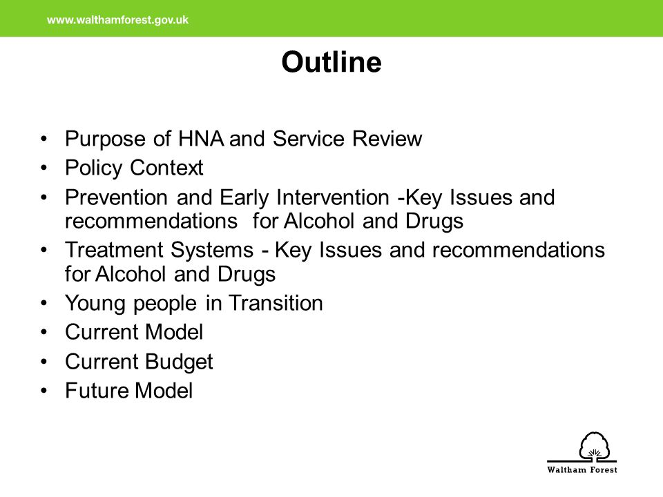 Purpose of HNA and Service Review Identify the substance misuse related needs of the people of Waltham Forest Describe the wider impacts, risk and harms associated with the substance misuse Support the substance misuse service reconfiguration process Inform the commissioning strategy