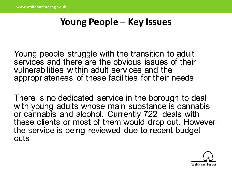 Young People – Key Issues Young people struggle with the transition to adult services and there are the obvious issues of their vulnerabilities within adult services and the appropriateness of these facilities for their needs There is no dedicated service in the borough to deal with young adults whose main substance is cannabis or cannabis and alcohol.