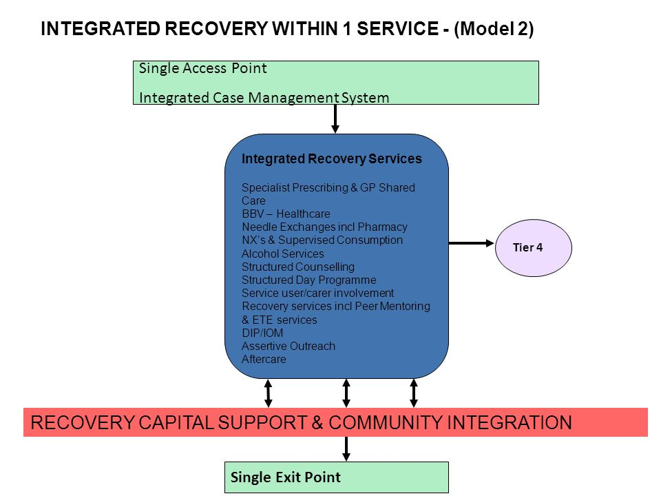 INTEGRATED RECOVERY WITHIN 1 SERVICE - (Model 2) Single Access Point Integrated Case Management System Integrated Recovery Services Specialist Prescribing & GP Shared Care BBV – Healthcare Needle Exchanges incl Pharmacy NX's & Supervised Consumption Alcohol Services Structured Counselling Structured Day Programme Service user/carer involvement Recovery services incl Peer Mentoring & ETE services DIP/IOM Assertive Outreach Aftercare Single Exit Point Tier 4 RECOVERY CAPITAL SUPPORT & COMMUNITY INTEGRATION