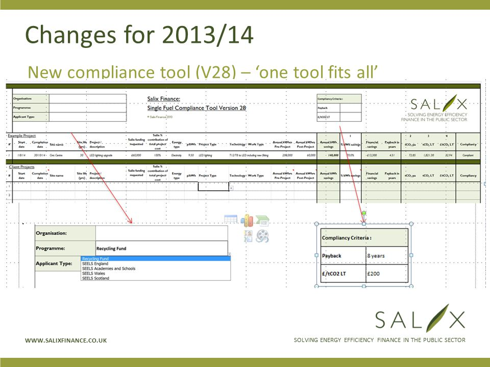 SOLVING ENERGY EFFICIENCY FINANCE IN THE PUBLIC SECTOR WWW.SALIXFINANCE.CO.UK Changes for 2013/14 New compliance tool (V28) – 'one tool fits all'
