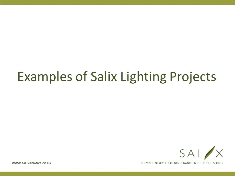 SOLVING ENERGY EFFICIENCY FINANCE IN THE PUBLIC SECTOR WWW.SALIXFINANCE.CO.UK Examples of Salix Lighting Projects