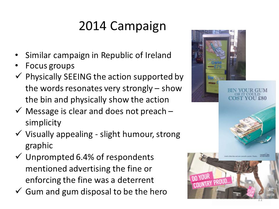 Similar campaign in Republic of Ireland Focus groups Physically SEEING the action supported by the words resonates very strongly – show the bin and ph