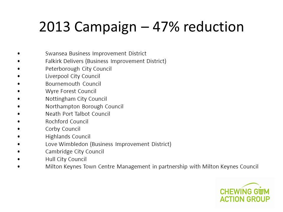 2013 Campaign – 47% reduction Swansea Business Improvement District Falkirk Delivers (Business Improvement District) Peterborough City Council Liverpo