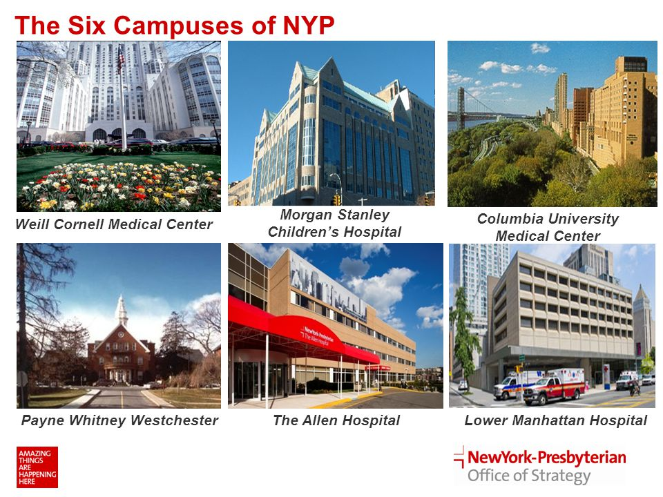 The Six Campuses of NYP Weill Cornell Medical Center Morgan Stanley Children's Hospital Columbia University Medical Center Payne Whitney WestchesterThe Allen HospitalLower Manhattan Hospital 1