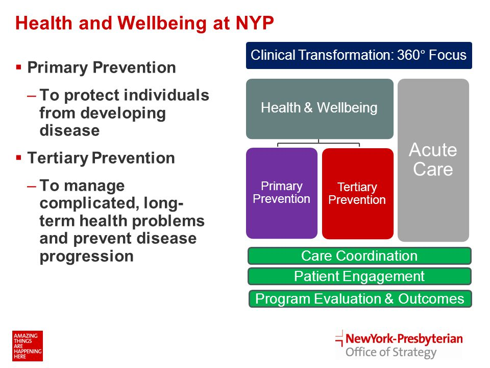 Health and Wellbeing at NYP  Primary Prevention –To protect individuals from developing disease  Tertiary Prevention –To manage complicated, long- term health problems and prevent disease progression Care Coordination Patient Engagement Program Evaluation & Outcomes