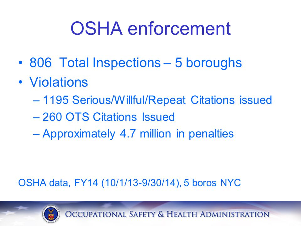 OSHA enforcement 806 Total Inspections – 5 boroughs Violations –1195 Serious/Willful/Repeat Citations issued –260 OTS Citations Issued –Approximately 4.7 million in penalties OSHA data, FY14 (10/1/13-9/30/14), 5 boros NYC