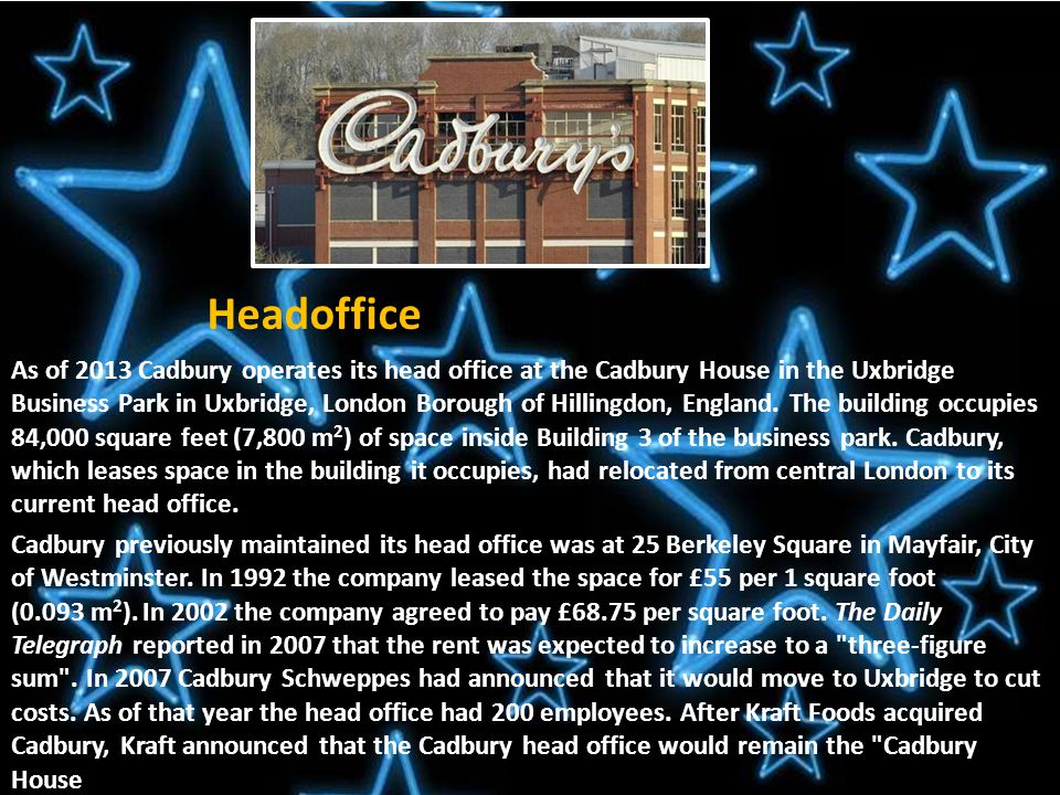 Introduction Cadbury is a British multinational confectionery company owned by Mondelēz International.