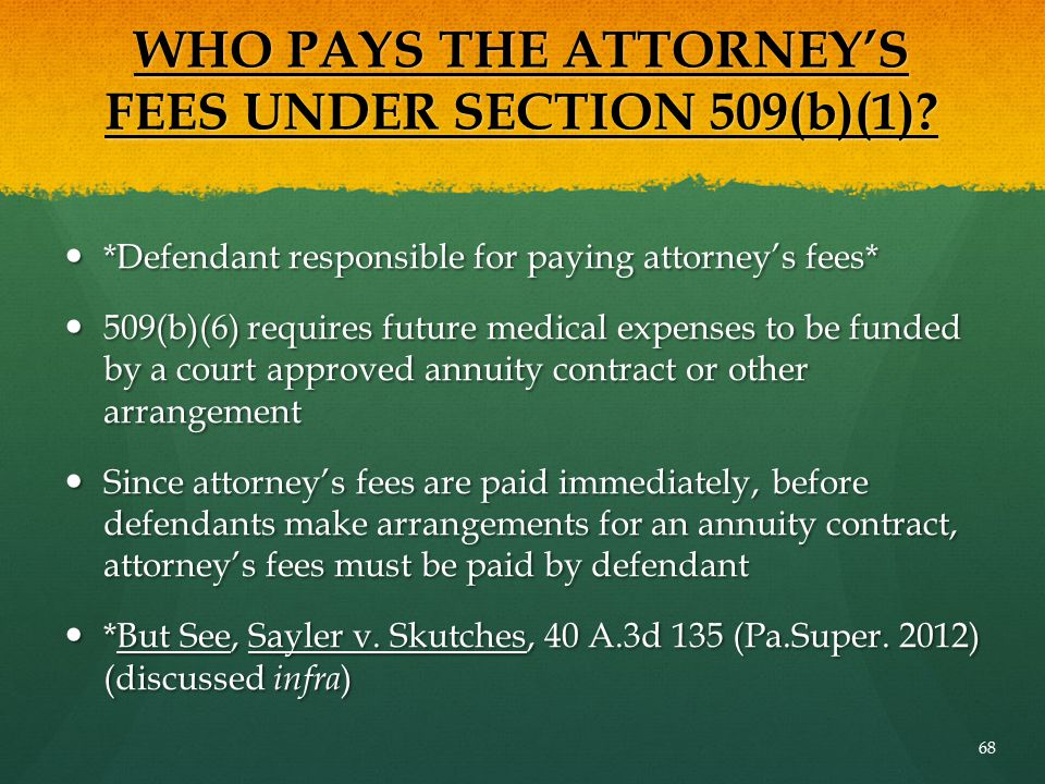 WHO PAYS THE ATTORNEY'S FEES UNDER SECTION 509(b)(1)? *Defendant responsible for paying attorney's fees* *Defendant responsible for paying attorney's