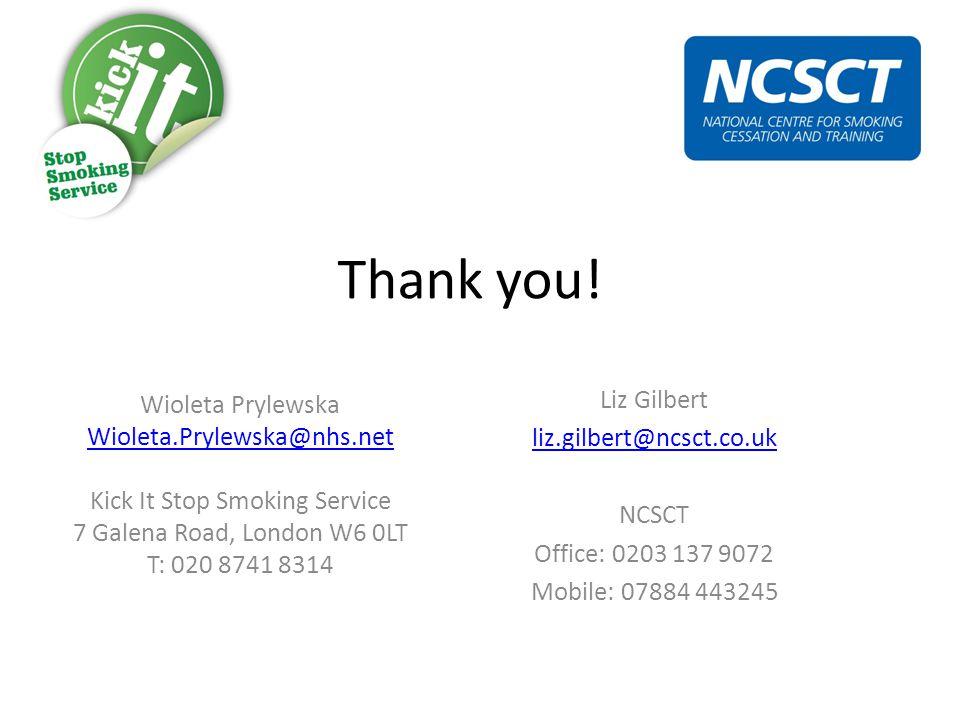 Thank you! Wioleta Prylewska Wioleta.Prylewska@nhs.net Kick It Stop Smoking Service 7 Galena Road, London W6 0LT T: 020 8741 8314 Liz Gilbert liz.gilb