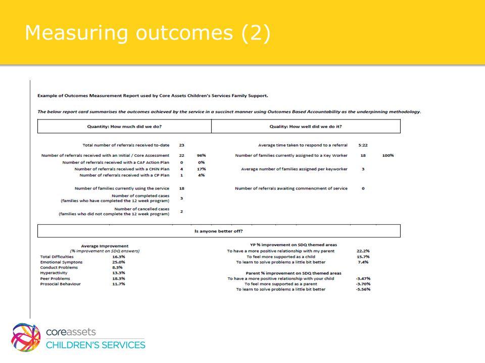 Measuring outcomes (2)