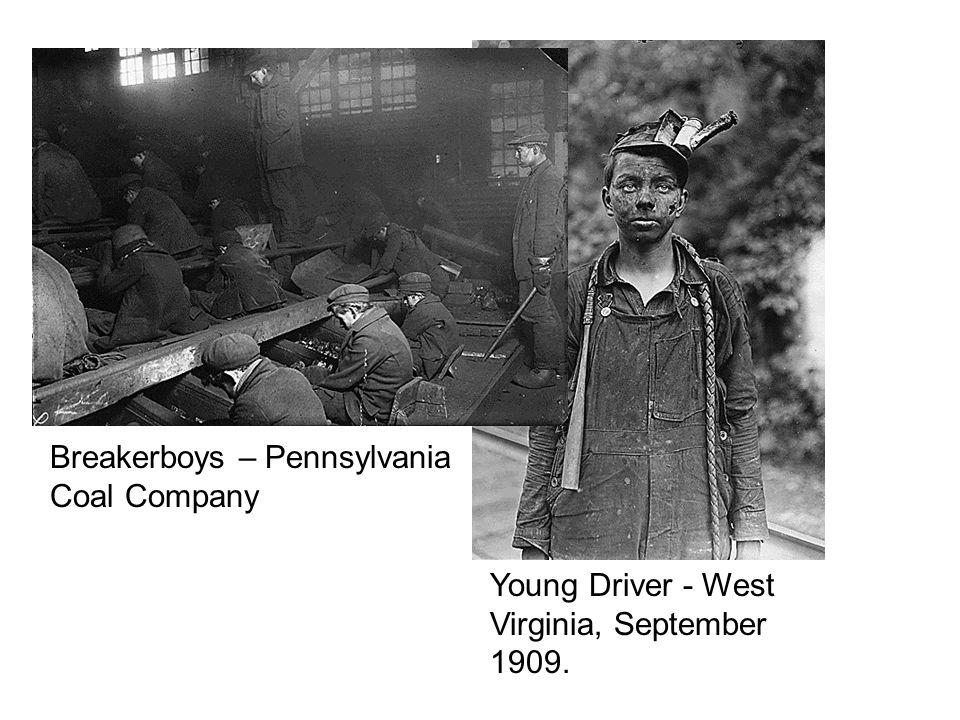 Young Driver - West Virginia, September 1909. Breakerboys – Pennsylvania Coal Company