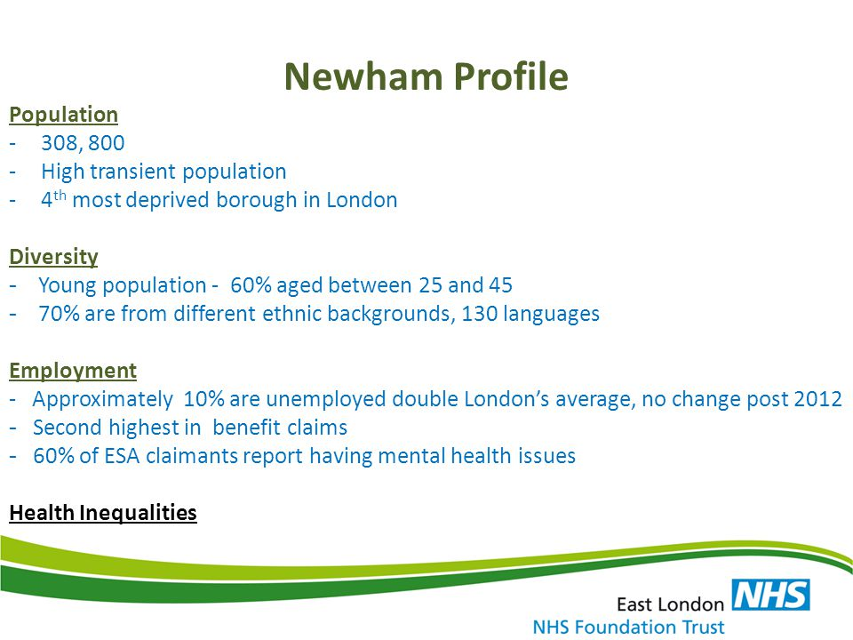 Newham Profile Population -308, 800 -High transient population -4 th most deprived borough in London Diversity - Young population - 60% aged between 2
