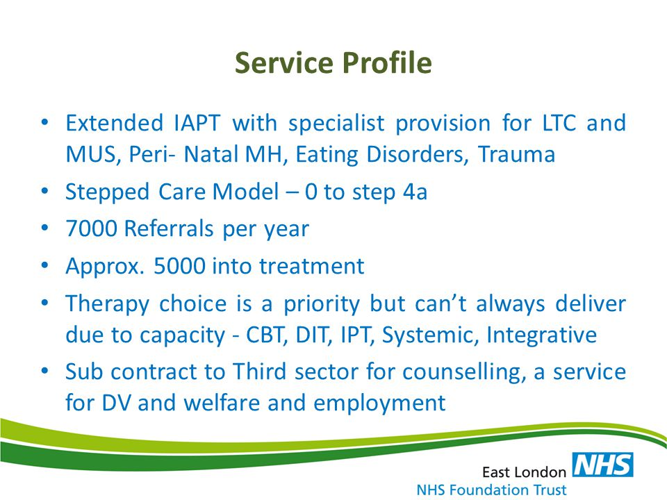 IAPT Employment Initiative: Letwin Pilot Project Learning points – Engagement and relationship is the key.