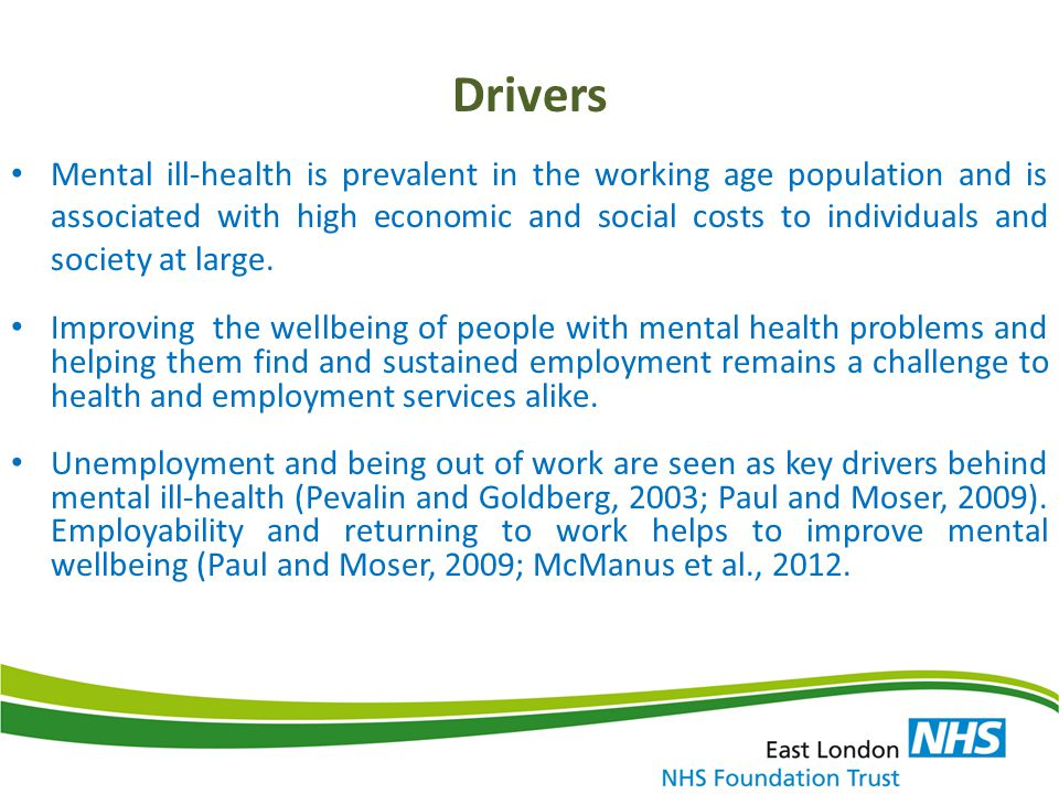 Profile of Service Users accessing Employment Service Length of depression and anxiety – 2 to 5 years Social isolation and exclusion Poor motivation and self esteem – extrinsically driven Low educational attainment Workless-ness in the family Co – morbidities – substance misuse, poverty, safeguarding issues, poor social stability (welfare), physical ill health