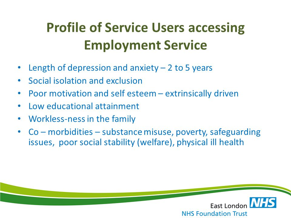 Integrated Model Barriers: To employment for people with mental health problems is the stigma and discrimination (Centre for Mental Health, 2013) Is the 'benefit-trap' when benefits create stronger incentives to remain in the system rather than return to work ( Lelliott et al., 2008) Integrated Provision: The integrated employment service within Newham IAPT offers opportunities to overcome these barriers Cultural shift : Therapists to assist the engagement SUs – suspicious, disengagement