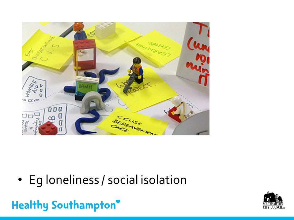 Eg loneliness / social isolation