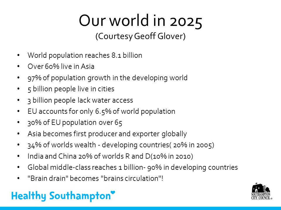 Our world in 2025 (Courtesy Geoff Glover) World population reaches 8.1 billion Over 60% live in Asia 97% of population growth in the developing world 5 billion people live in cities 3 billion people lack water access EU accounts for only 6.5% of world population 30% of EU population over 65 Asia becomes first producer and exporter globally 34% of worlds wealth - developing countries( 20% in 2005) India and China 20% of worlds R and D(10% in 2010) Global middle-class reaches 1 billion- 90% in developing countries Brain drain becomes brains circulation !