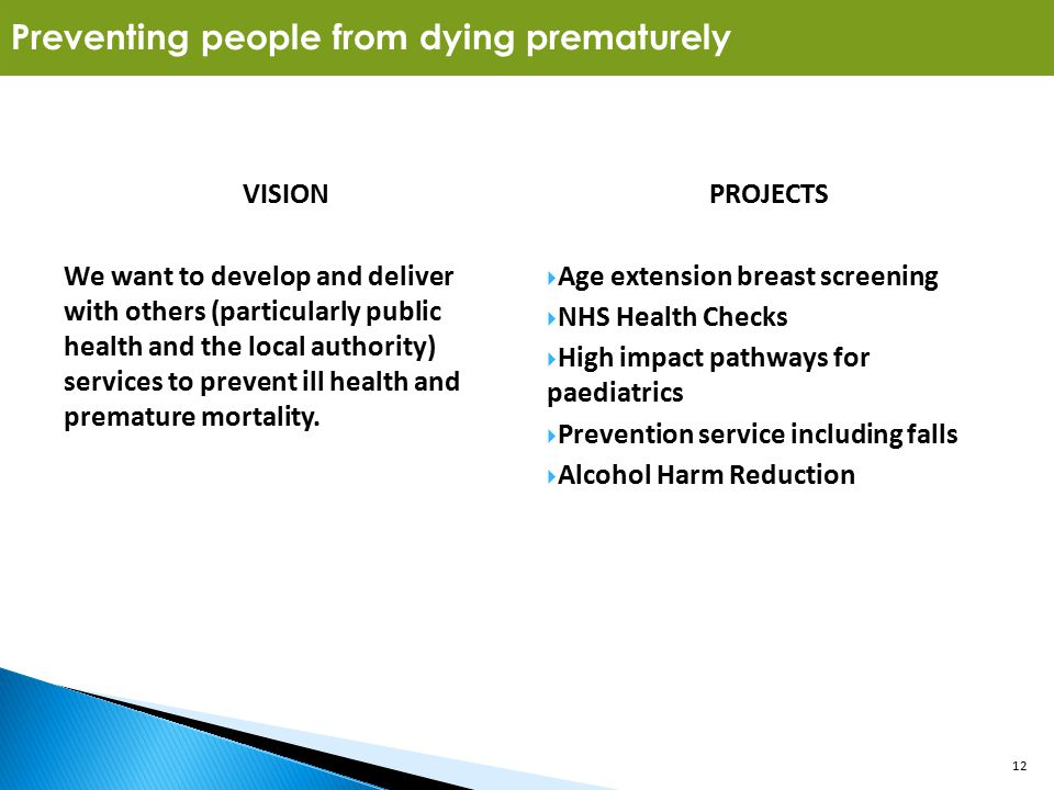 12 VISION We want to develop and deliver with others (particularly public health and the local authority) services to prevent ill health and premature mortality.