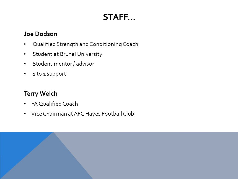 STAFF… Joe Dodson Qualified Strength and Conditioning Coach Student at Brunel University Student mentor / advisor 1 to 1 support Terry Welch FA Qualified Coach Vice Chairman at AFC Hayes Football Club
