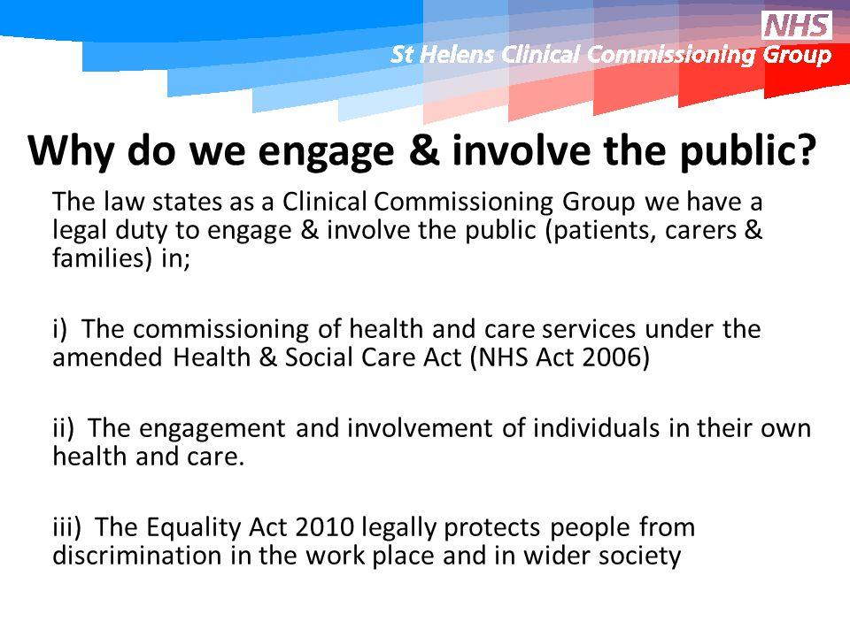 Why do we engage & involve the public.