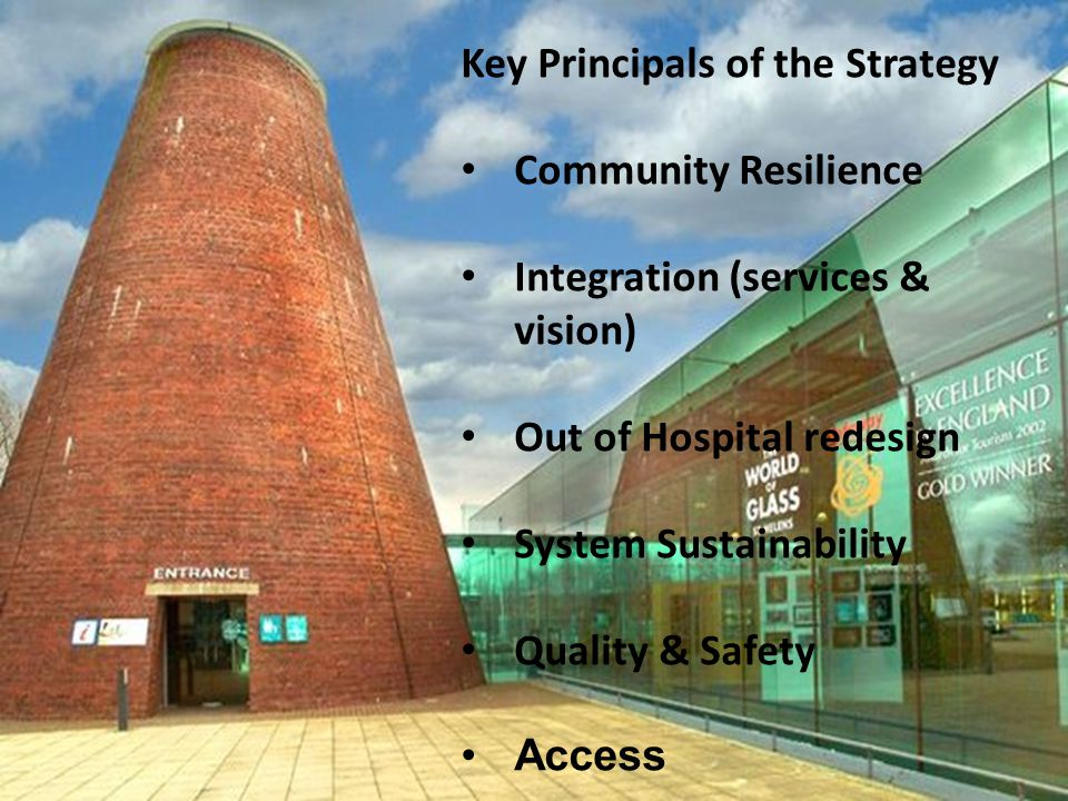 Key Principals of the Strategy Community Resilience Integration (services & vision) Out of Hospital redesign System Sustainability Quality & Safety Access