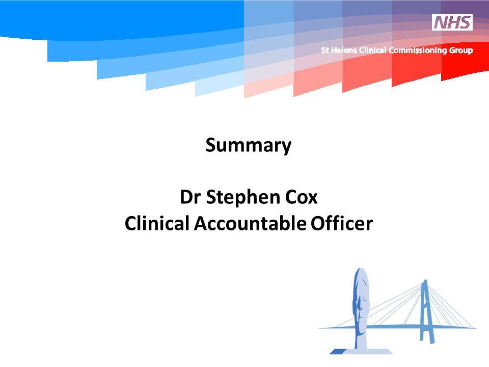 Summary Dr Stephen Cox Clinical Accountable Officer