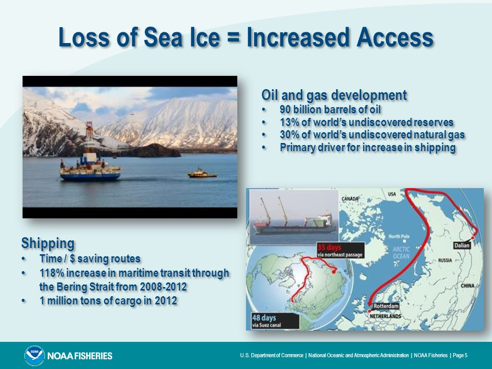 U.S. Department of Commerce | National Oceanic and Atmospheric Administration | NOAA Fisheries | Page 5 Image: US Coast Guard Loss of Sea Ice = Increa