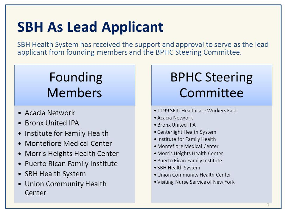 SBH As Lead Applicant SBH Health System has received the support and approval to serve as the lead applicant from founding members and the BPHC Steeri
