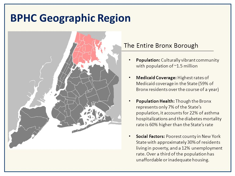 BPHC Geographic Region The Entire Bronx Borough Population: Culturally vibrant community with population of ~1.5 million Medicaid Coverage: Highest ra