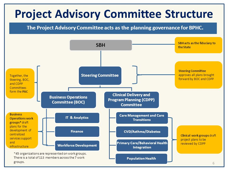 Project Advisory Committee Structure and Processes Steering Committee Business Operations Committee (BOC) IT & Analytics Finance Workforce Development