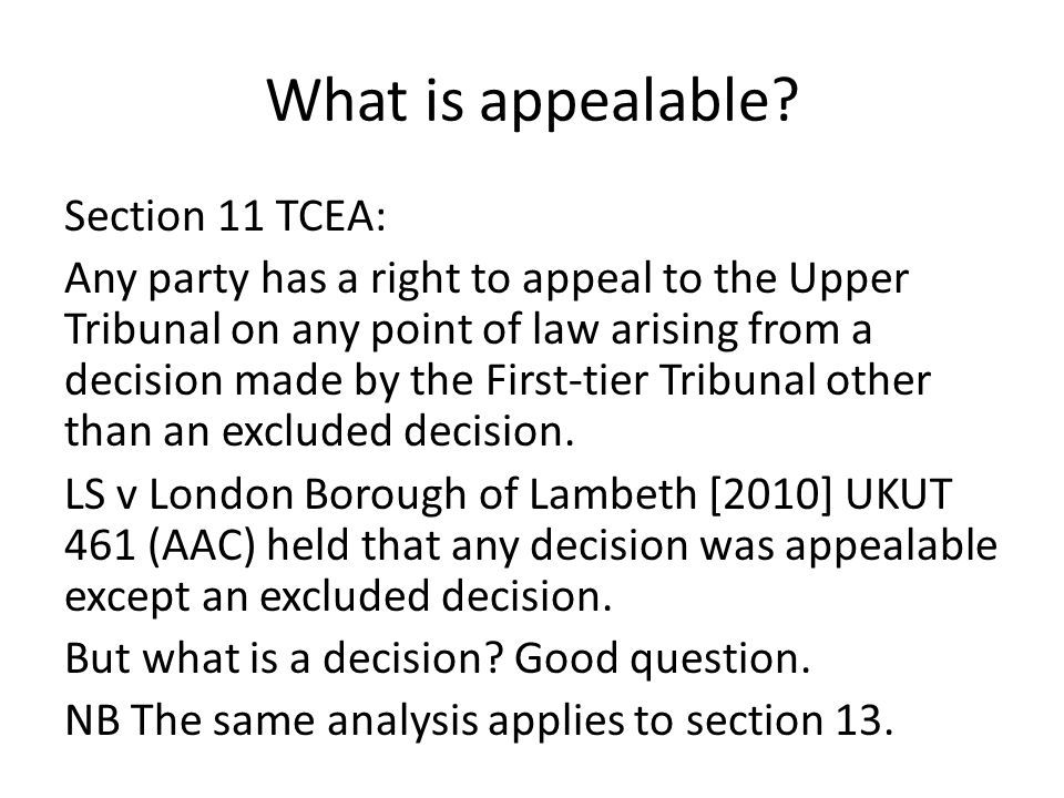 What is appealable.