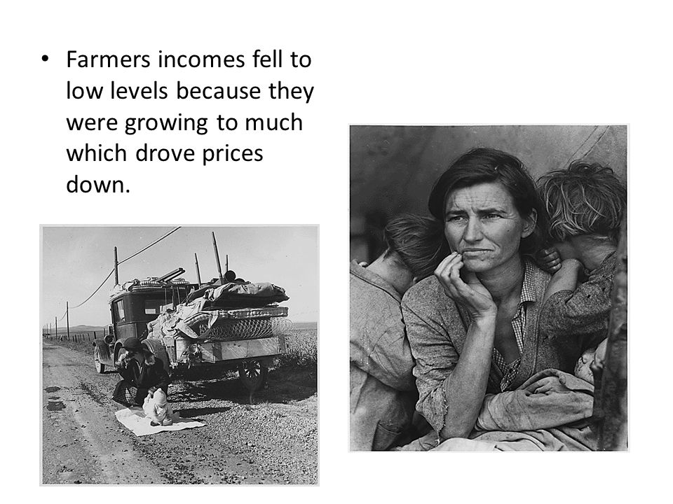 Farmers incomes fell to low levels because they were growing to much which drove prices down.