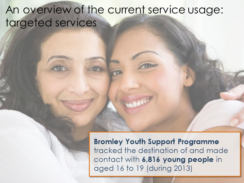 Bromley Youth Support Programme tracked the destination of and made contact with 6,816 young people in aged 16 to 19 (during 2013) An overview of the