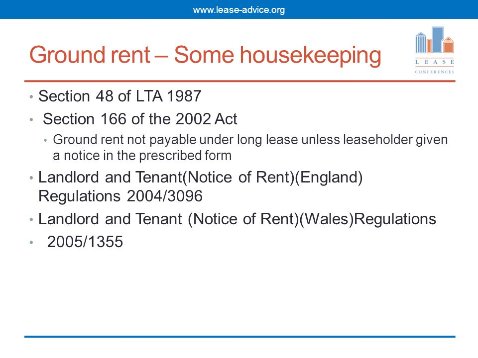 What's in the prescribed notice of ground rent.