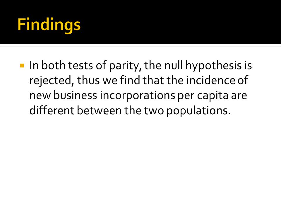  In both tests of parity, the null hypothesis is rejected, thus we find that the incidence of new business incorporations per capita are different between the two populations.