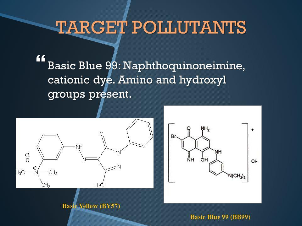 TARGET POLLUTANTS  Basic Blue 99: Naphthoquinoneimine, cationic dye.