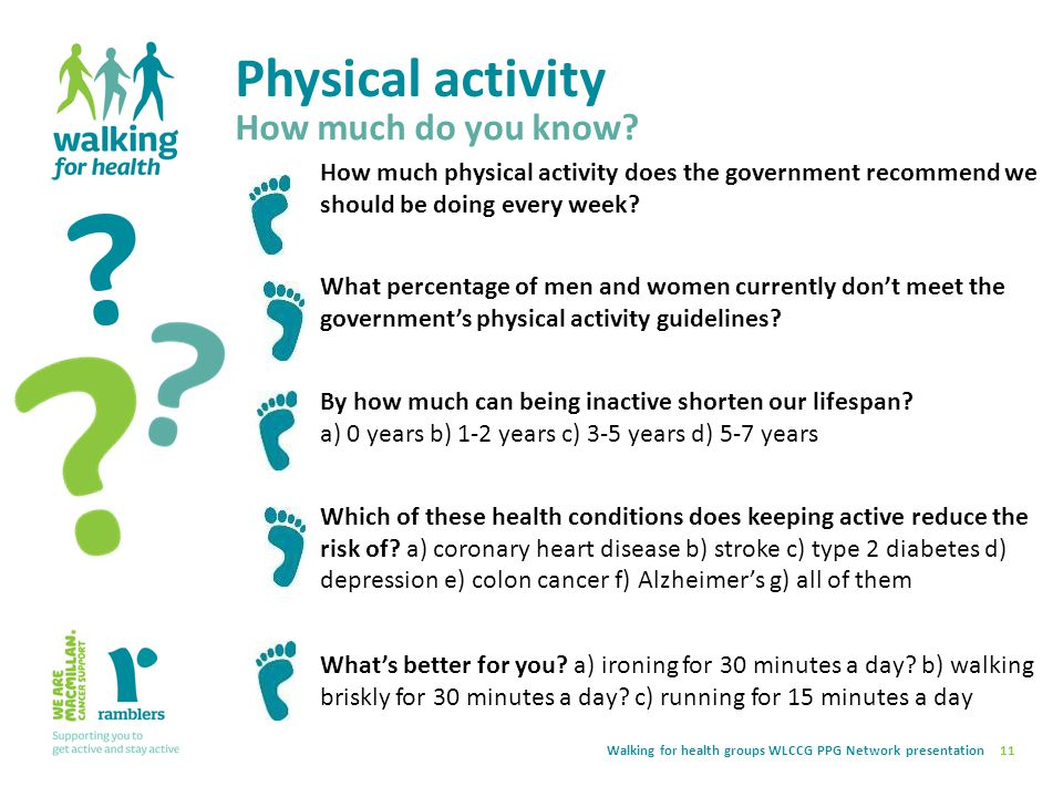 Physical activity 11 How much do you know? How much physical activity does the government recommend we should be doing every week? What percentage of