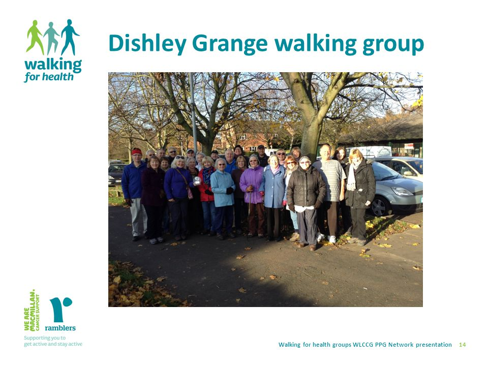 Walking for health groups WLCCG PPG Network presentation Dishley Grange walking group 14 Volunteer led weekly walks Supported by CSPADO team Regular a