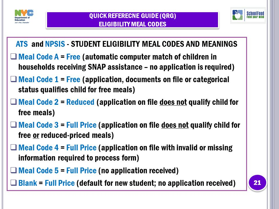 QUICK REFERECNE GUIDE (QRG) ELIGIBILITY MEAL CODES ATS and NPSIS - STUDENT ELIGIBILITY MEAL CODES AND MEANINGS  Meal Code A = Free (automatic compute