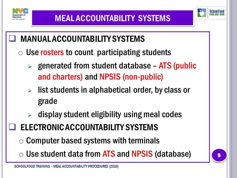 MEAL ACCOUNTABILITY SYSTEMS  MANUAL ACCOUNTABILITY SYSTEMS o Use rosters to count participating students  generated from student database – ATS (public and charters) and NPSIS (non-public)  list students in alphabetical order, by class or grade  display student eligibility using meal codes  ELECTRONIC ACCOUNTABILITY SYSTEMS o Computer based systems with terminals o Use student data from ATS and NPSIS (database) 9 9 9 SCHOOLFOOD TRAINING – MEAL ACCOUNTABILITY PROCEDURES (2010)