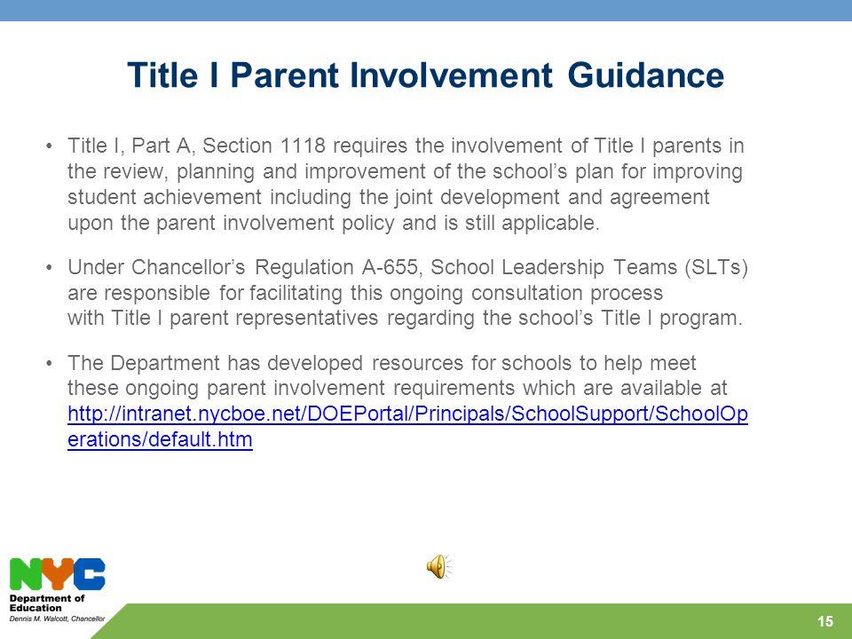 Parent Involvement vs. Parent Engagement 14