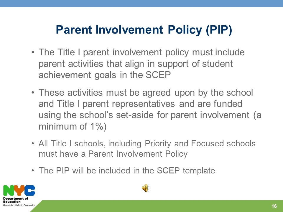 Title I Parent Involvement Guidance Title I, Part A, Section 1118 requires the involvement of Title I parents in the review, planning and improvement