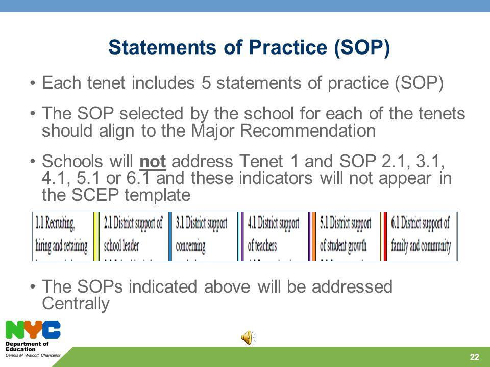 Statement of Practice (SOP) 134562 Schools respond to tenets 2-6 only 21