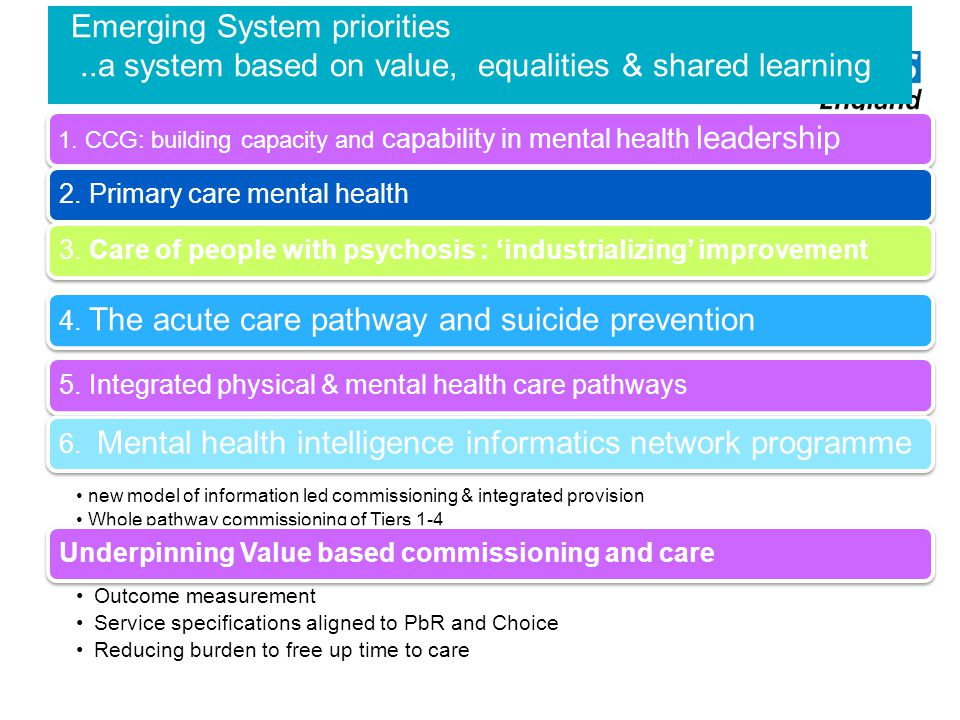 Emerging System priorities..a system based on value, equalities & shared learning 1. CCG: building capacity and capability in mental health leadership