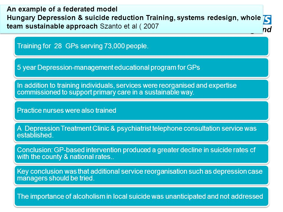 An example of a federated model Hungary Depression & suicide reduction Training, systems redesign, whole team sustainable approach Szanto et al ( 2007 Training for 28 GPs serving 73,000 people.5 year Depression-management educational program for GPs In addition to training individuals, services were reorganised and expertise commissioned to support primary care in a sustainable way.