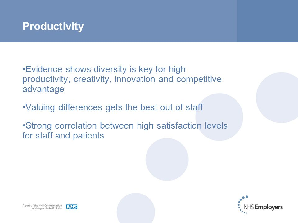 Productivity Evidence shows diversity is key for high productivity, creativity, innovation and competitive advantage Valuing differences gets the best