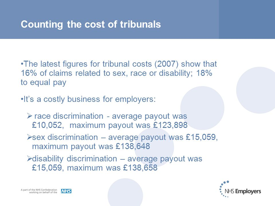 Counting the cost of tribunals The latest figures for tribunal costs (2007) show that 16% of claims related to sex, race or disability; 18% to equal pay It's a costly business for employers:  race discrimination - average payout was £10,052, maximum payout was £123,898  sex discrimination – average payout was £15,059, maximum payout was £138,648  disability discrimination – average payout was £15,059, maximum was £138,658
