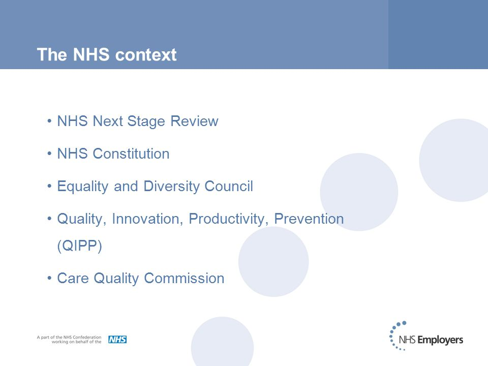 The NHS context NHS Next Stage Review NHS Constitution Equality and Diversity Council Quality, Innovation, Productivity, Prevention (QIPP) Care Quality Commission